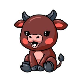 Dessin animé mignon bébé taureau assis
