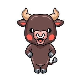 Dessin animé mignon bébé taureau debout