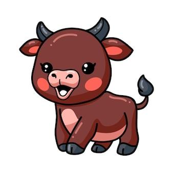 Dessin animé mignon bébé taureau heureux