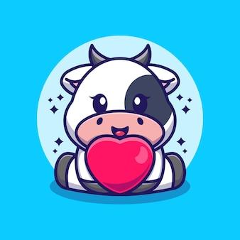 Dessin animé mignon bébé vache avec amour