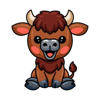 Dessin animé mignon bébé yak assis