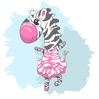 Dessin animé mignon bébé zebra ballerine dessinés à la main