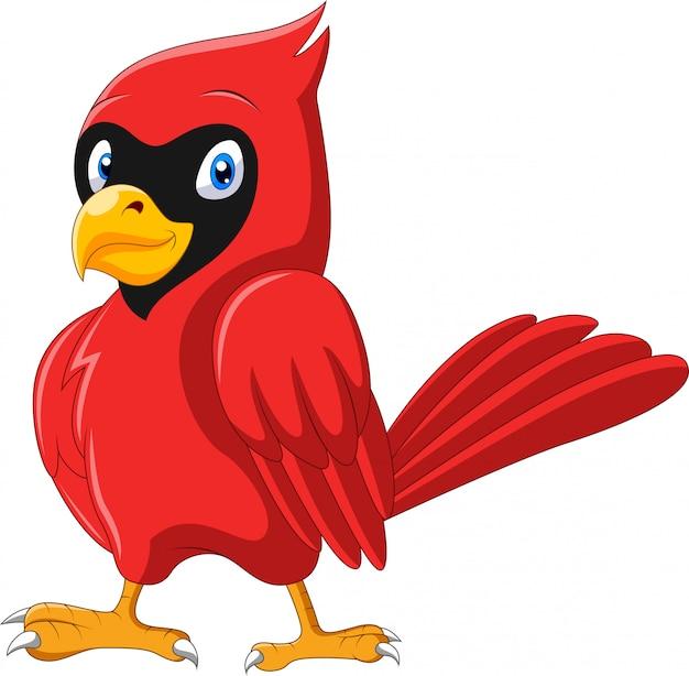 Dessin animé mignon bel oiseau cardinal
