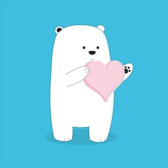 Dessin animé mignon bel ours avec grand coeur