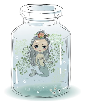 Dessin animé mignon belle sirène heureuse colorée avec des cheveux verts