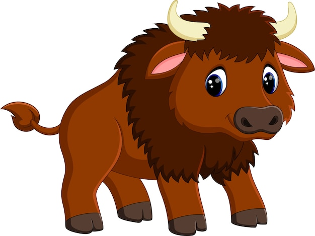 Dessin animé mignon de bison