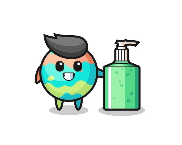 Dessin animé mignon de bombes de bain avec désinfectant pour les mains, design de style mignon pour t-shirt, autocollant, élément de logo