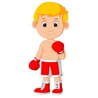 Dessin animé mignon boxe garçon