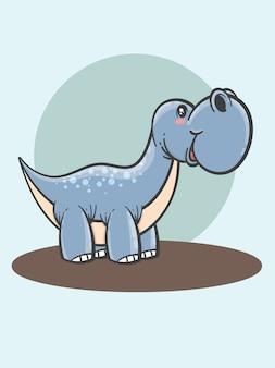 Dessin animé mignon brontosaure