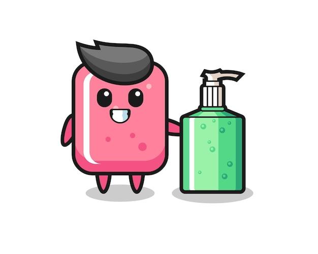 Dessin animé mignon bubble-gum avec désinfectant pour les mains, design de style mignon pour t-shirt, autocollant, élément de logo