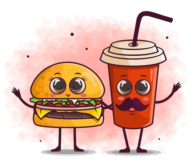 Dessin animé mignon burger et boisson dessiné à la main