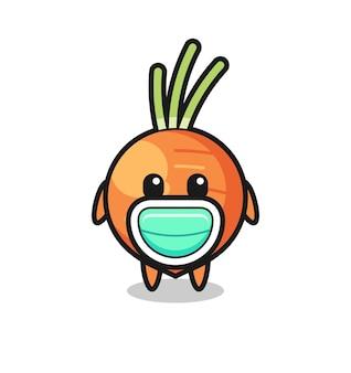Dessin animé mignon de carotte portant un masque, conception de style mignon pour t-shirt, autocollant, élément de logo
