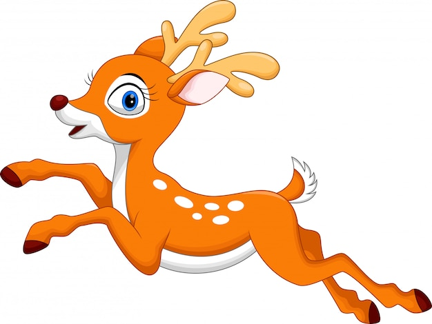Dessin animé mignon cerf sautant