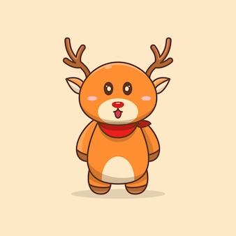 Dessin animé mignon cerf sourire illustration vectorielle debout heureux. mascotte de dessin animé animal, dessin de style dessin animé
