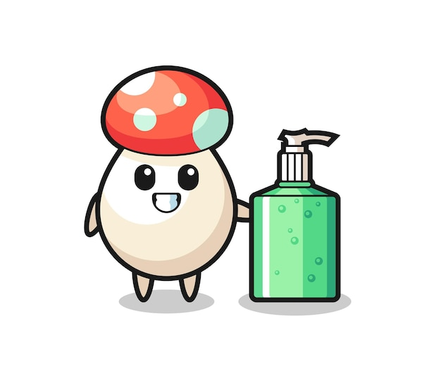 Dessin animé mignon de champignon avec désinfectant pour les mains, design de style mignon pour t-shirt, autocollant, élément de logo