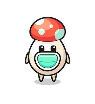 Dessin animé mignon de champignon portant un masque, conception de style mignon pour t-shirt, autocollant, élément de logo