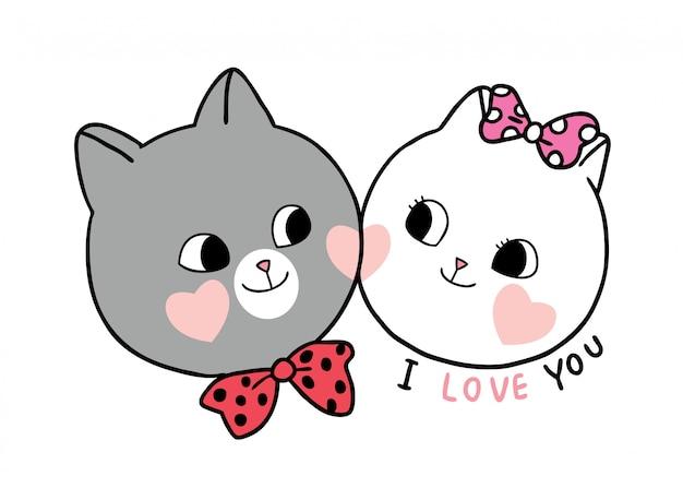 Dessin animé mignon chat amoureux de la saint-valentin et vecteur de coeurs.
