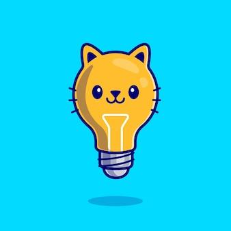 Dessin animé mignon chat ampoule