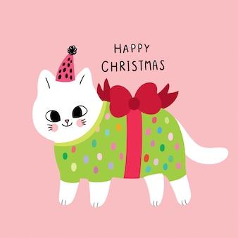 Dessin animé mignon chat et cadeau de noël.