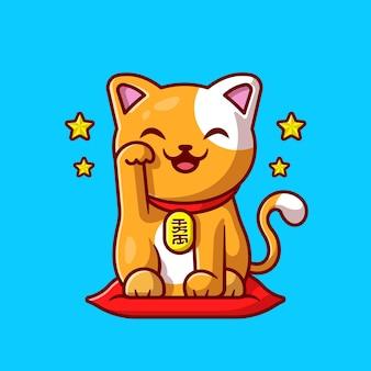 Dessin animé mignon chat chanceux