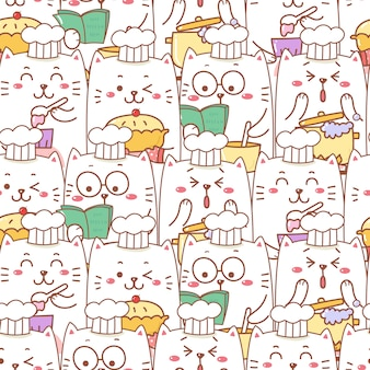 Dessin animé mignon chat cuisson modèle sans couture de boulangerie.