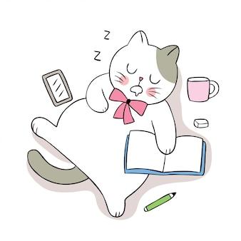 Dessin animé mignon chat dormant et livre.