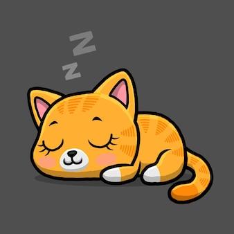 Dessin animé mignon chat endormi isolé sur fond noir.