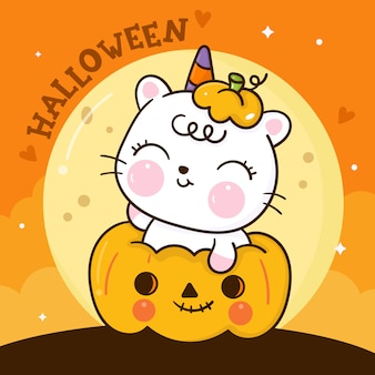 Dessin animé mignon chat halloween sur citrouille kawaii animal dessiné à la main