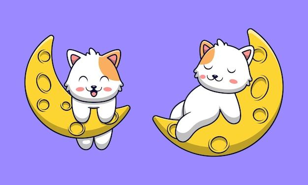 Dessin animé mignon chat jouant sur la lune