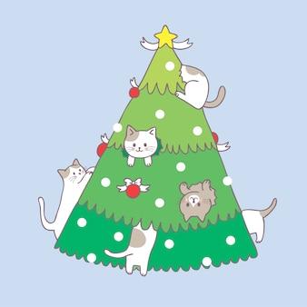 Dessin animé mignon chat de noël et vecteur d'arbre de noël.