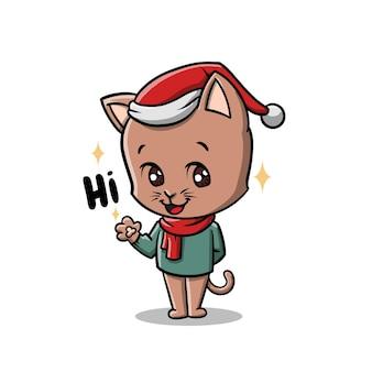 Dessin animé mignon chat de noël