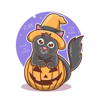Dessin animé mignon chat noir et illustration vectorielle de citrouille