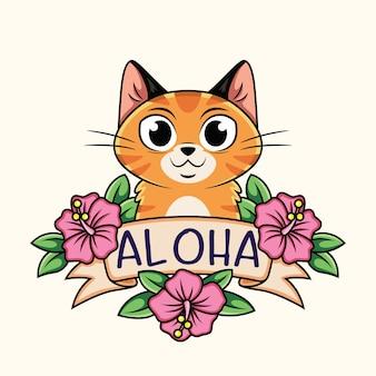 Dessin animé mignon chat avec planche d'aloha et fleurs