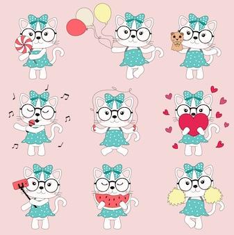 Dessin animé mignon chat rose