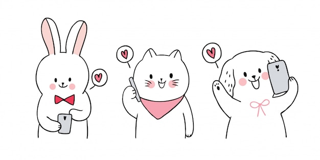 Dessin animé mignon chat de saint valentin et chien et lapin et amour vecteur mobile.