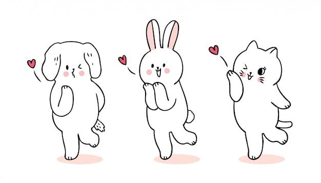 Dessin animé mignon chat de saint valentin et chien et lapin et vecteur de baiser.