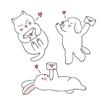 Dessin animé mignon chat de saint valentin et chien et lapin et vecteur de lettre d'amour.