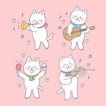 Dessin animé mignon chat de la saint-valentin et de la musique.