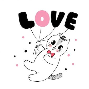 Dessin animé mignon chat de saint valentin et vecteur de coeurs de ballon.