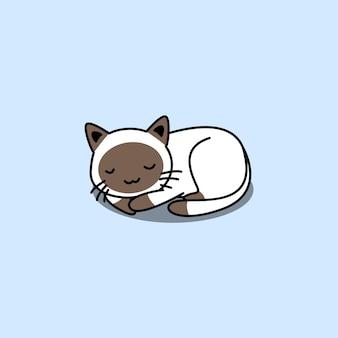 Dessin animé mignon chat siamois endormi isolé sur bleu