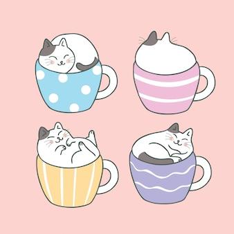 Dessin animé mignon chat et tasse de café