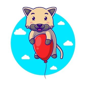 Dessin animé mignon chaton volant avec un ballon rouge