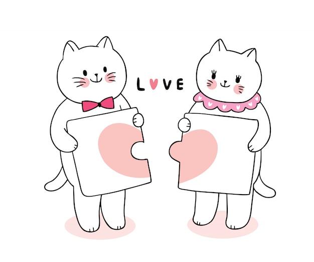 Dessin animé mignon chats amoureux de la saint-valentin et coeurs en vecteur de puzzle.