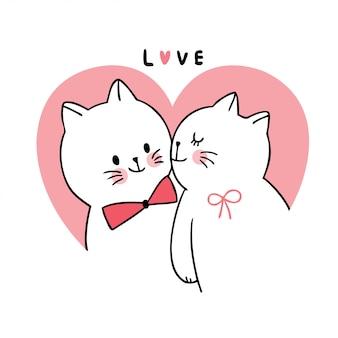 Dessin animé mignon chats amoureux de la saint-valentin embrassant le vecteur.
