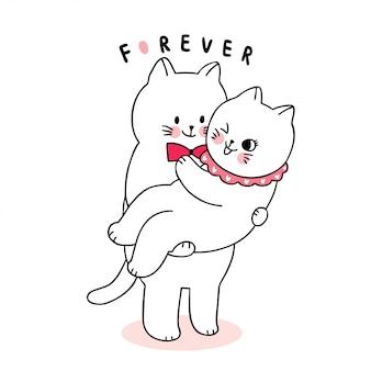 Dessin animé mignon chats amoureux de la saint-valentin étreignant le vecteur.
