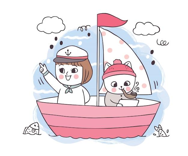 Dessin animé mignon chats blancs et fille en bateau sur une mer