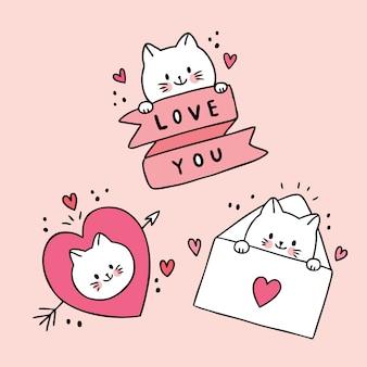 Dessin animé mignon chats blancs de saint valentin et vecteur d'amour doodle.