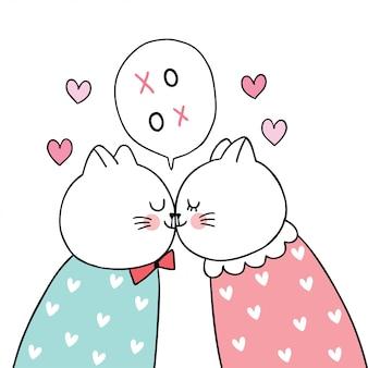 Dessin animé mignon chats de couple saint valentin embrassant vecteur.
