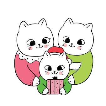 Dessin animé mignon chats de la famille christamas et présent