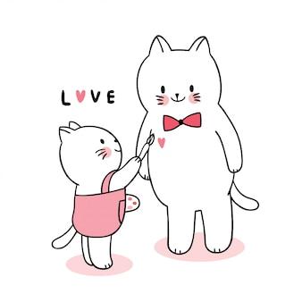 Dessin animé mignon chats de famille de saint valentin peinture vecteur de coeur.